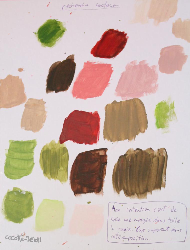 Des croquis et une recherche couleur sur un projet (2013)