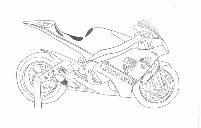 moto kawasaki dessin