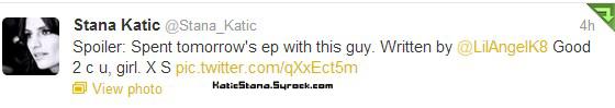 Stana Katic.  Twitter !      Stana Katic.  Dimanche 4 Novembre 2012 ; Stana et Andrew pour le Castle USC !