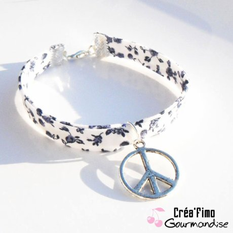 Bracelet liberty Peace and Love bleu