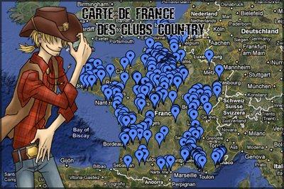 Carte de France des Clubs Country