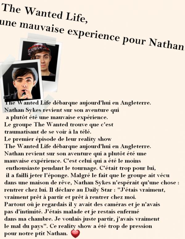 Nathan a le mal du pays pendant le tournage de The Wanted Life