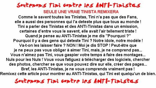 Soutenons Tini contre les ANTI-Tinistas