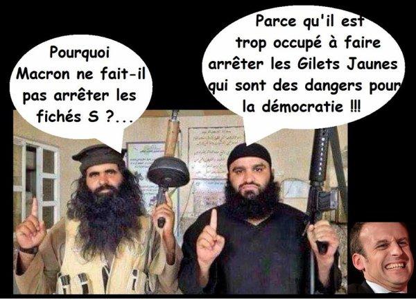 """MACRON et son larbin CASTANER nous expliquent qu'il est """"impossible"""" d'arrêter des islamistes """"fichés S"""" à titre préventif, même très dangereux... Par contre, des centaines de gilets jaunes, pacifiques, ont été arrêtés à """"titre préventif"""" sur ordre de MACRON... CHERCHEZ L'ERREUR !"""
