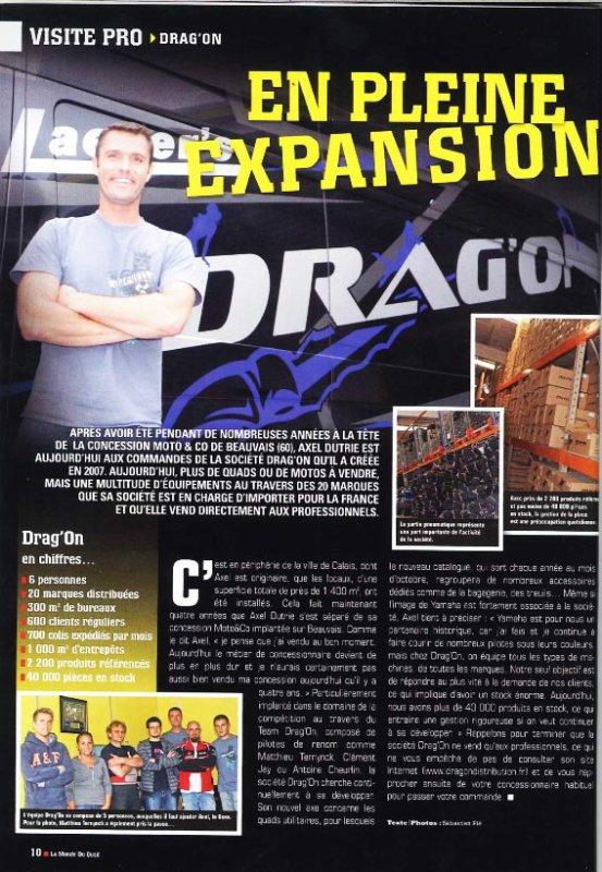 Drag'on dans « Le monde du quad Petit article sur Drag'on dans le magazine « Le monde du Quad » d'octobre 2011 avec en bonus, la pose « tête de vainqueur » du boss ! — avec Axel Dutrie.