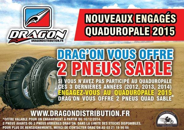 2 pneus sable offerts pour le quaduropale 2015