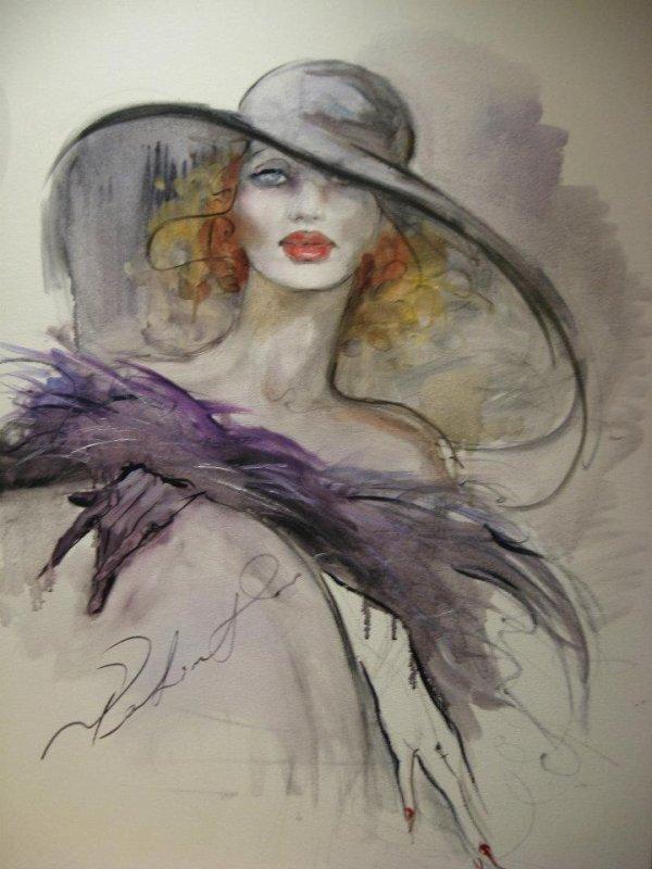 Femme à chapeau...
