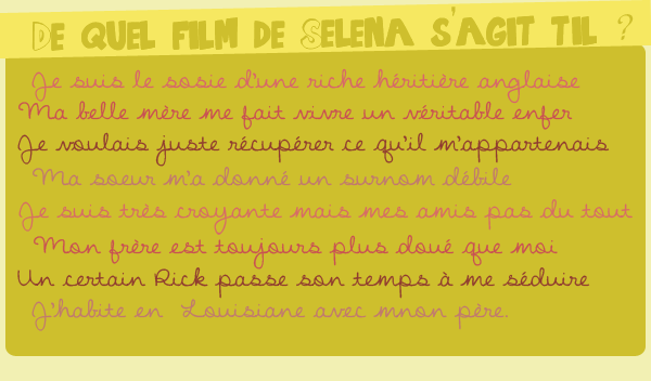 Article spéciale : Film de Selena - Mini quizz