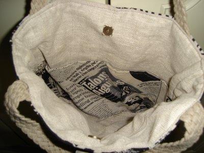 Sac  en tissu vintage et lin , dentelle et ruban