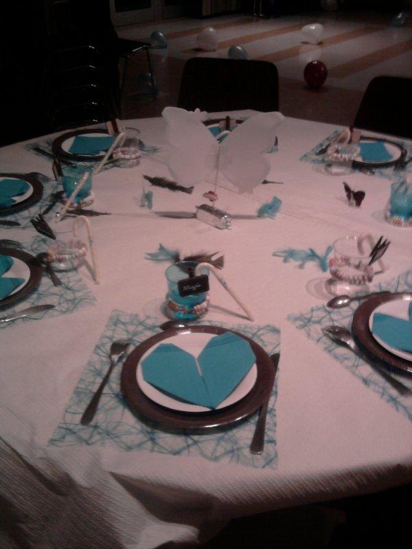 D coration de table pour un mariage de couleur chocolat turquoise d co mariages comunions - Deco table turquoise chocolat ...