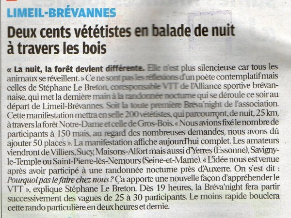 La 1ère Bréva'Night (octobre 2012) 2/2 Article du Parisien
