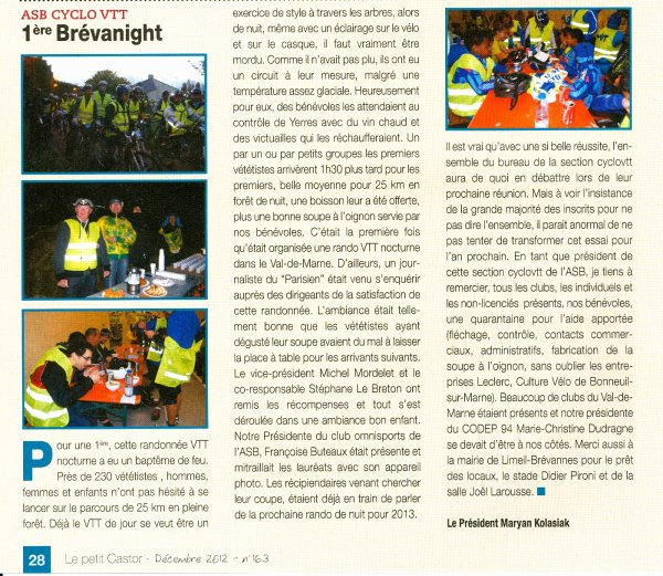 Bréva'Night 2012, article du Président dans le castor (décembre 2012)