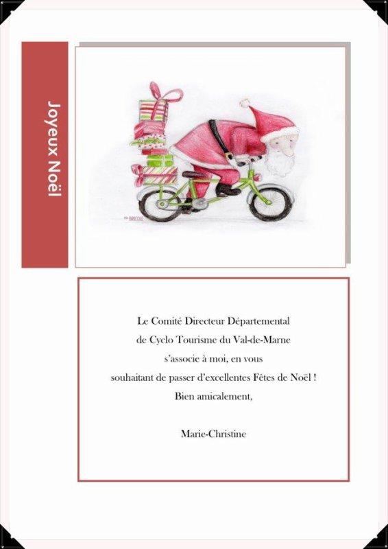 Carte de la présidente du comité Val-de-Marne FFCT