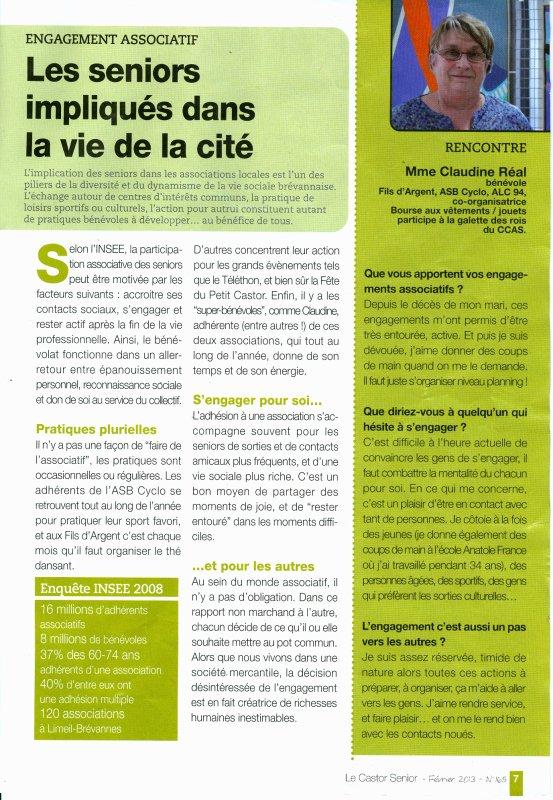 Revue de presse: Castor Sénior (février 2013)