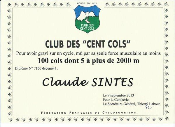 Membre du Club des Cent Cols (9 septembre 2013), par Claude