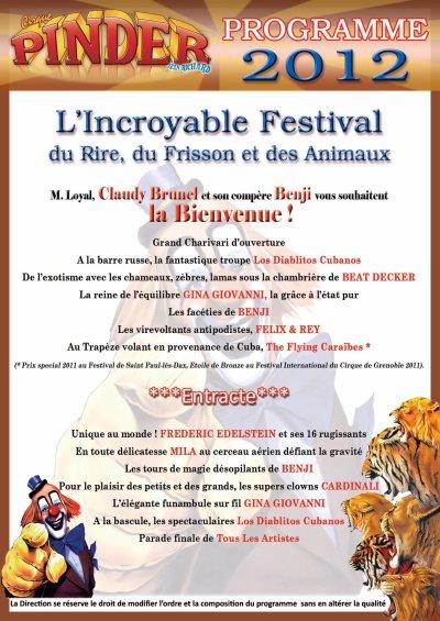 Programme 2012 du cirque pinder source burguscircus - Cirque electrique porte des lilas programme ...