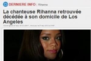 CETTE RUMEUR NOUS APPRENANT LE DECE DE RHIANNA !