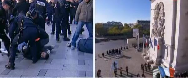 Incident lors de la Cérémonies du 11-Novembre, heurts entre policiers et manifestants du Printemps français...