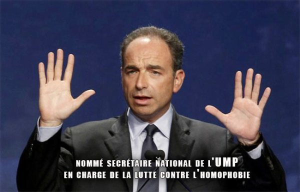L'UMP nomme un secrétaire chargé de la lutte contre l'homophobie, Les militants de la Manif pour tous parlent de « trahison ».