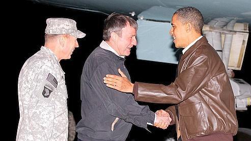 Barack Obama a remotivé les soldats américains lors d'une visite éclair