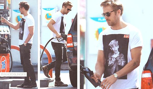 22 MARS 2013 :  Ryan Gosling a été aperçus entrain de mettre de l'essence dans Studio City. Top ou Flop ?