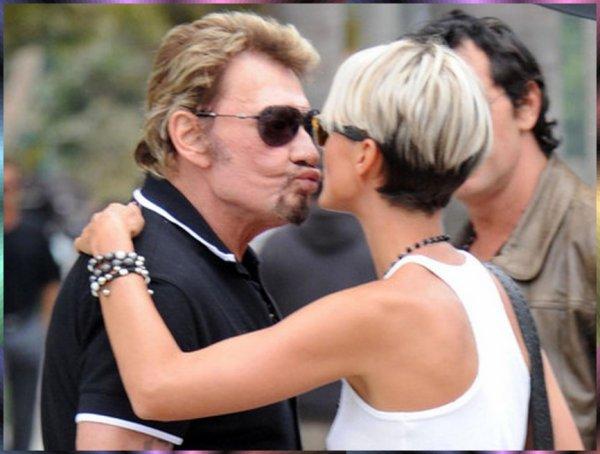 Légende de la musique française Johnny Hallyday et Laeticia Hallyday son épouse