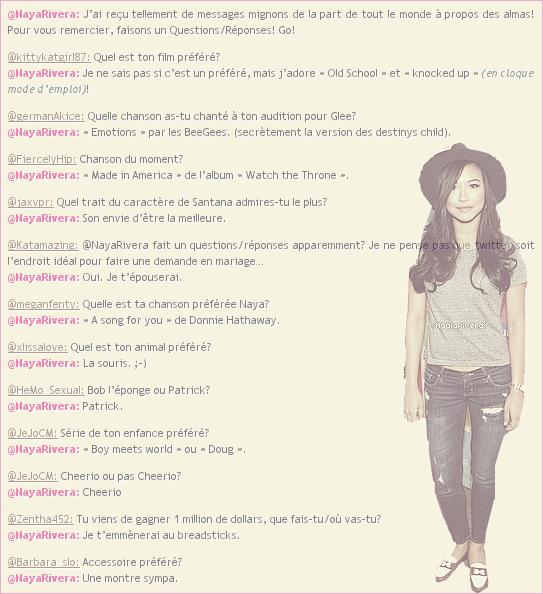 26 Août 2011 : Questions/Réponses à quelques questions d'internautes posées par des fans sur Twitter.