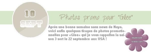 10 Septembre 2011 : Enfin des news ! Quelques photos promo pour «Glee» viennent de sortir, j'aime beaucoup !
