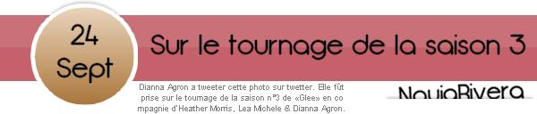 24 Septembre 2011 : Une photo apparu via Twitter sur le tournage de la saison 3 de «Glee».