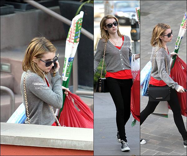 . 14/12/11.Emma a été aperçue avec un sacs plastiques et d'accessoires de ménage à L.A .