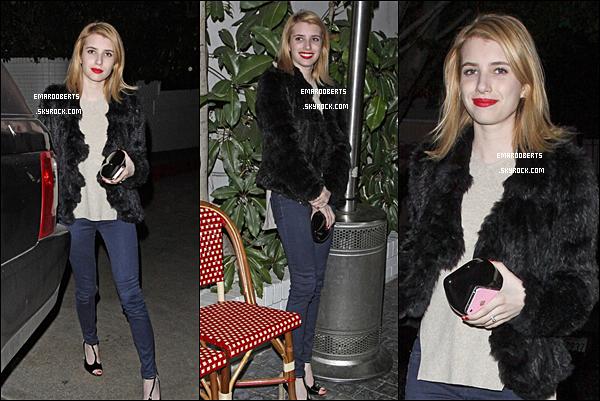 . 1o Janvier  - Emma a été vue quittant Château Marmont Ensuite le 11 janvier elle a été vu quittant Mauro Cafe à Los Angeles .