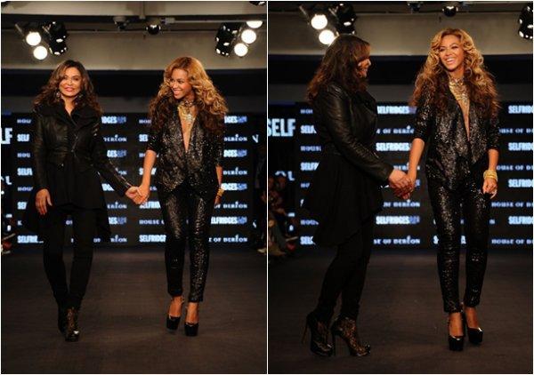 """Beyonce et sa mère Tina Kwoles se sont rendues en Angleterre (Londre) pour présenter leur marques """"House of Dereon"""""""