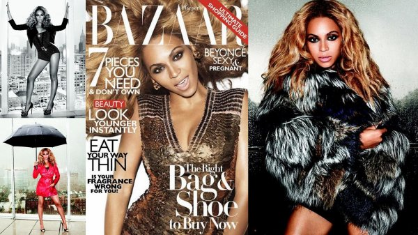 """Beyonce pose pour le magazine """"Bazar"""" Même enceinte elle continue les affaires"""