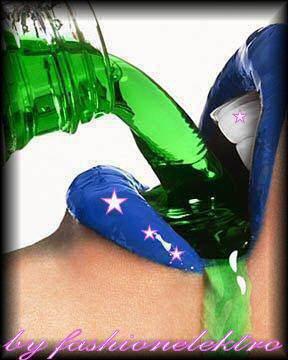 Bouche bleu avec des étoils