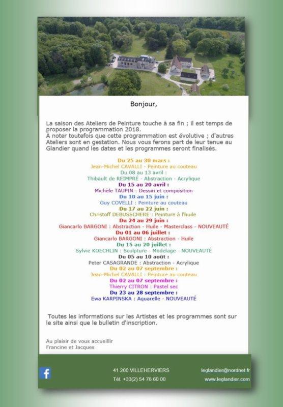 LE GLANDIER ATELIERS D'ARTS PROGRAMME 2018