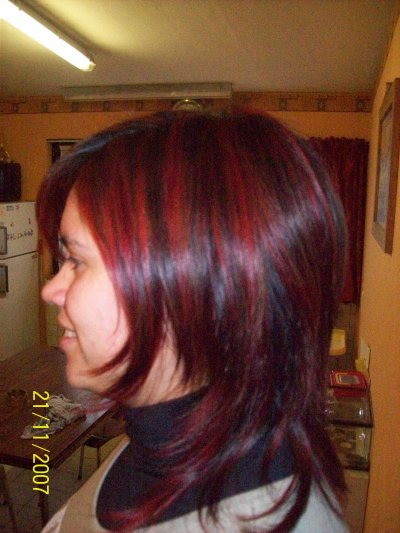 Top Meche rouge sur cheveux noir - ezona boutique CR58