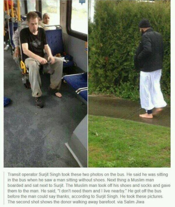 Allâh y berek ♥ Le chauffeur prit ces photos et raconte qu'un homme dans le bus n'avait pas de chaussures.  Un musulman qui vit cela enleva ses chaussures pour lui donner et lui dit qu'il n'en avait pas besoin et qu'il habitait à côté.  Il sortit du bus avant même que l'homme ait eu le temps de le remercier....