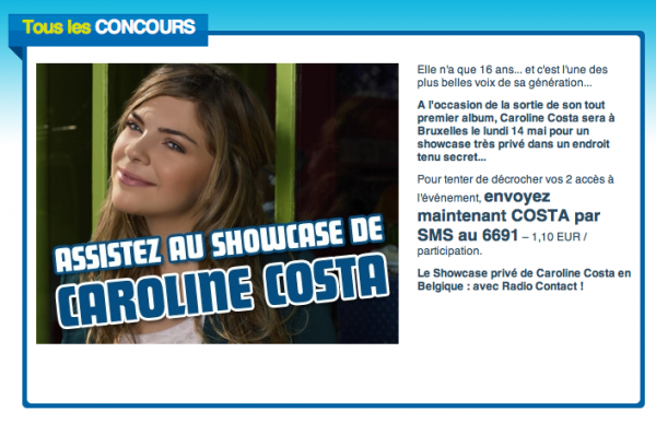 Caroline à la radio Belge + Concours Belge :)