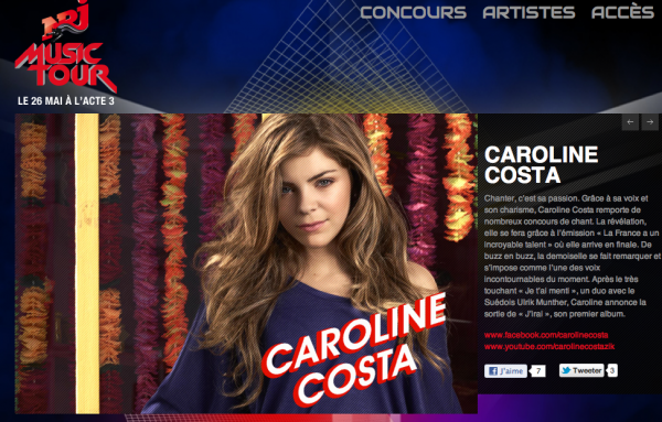 Caroline au Nrj Music Tour en Belgique