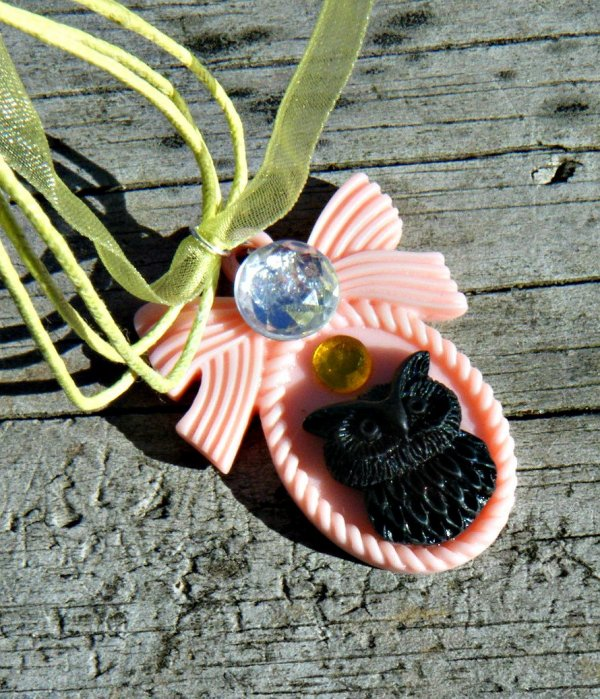 Kawaii OwlLolita Necklace on Organza ribbon with silver findings