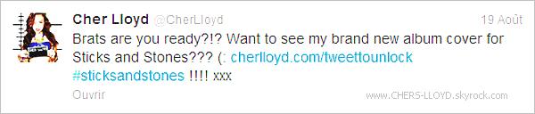 . • Le 19 août, performance de Cher au V Festival, en Angleterre (encore une fois). Mais cette fois-ci, le concert s'est mal passé et pour cause ? Plusieurs ''haters'' l'ont huée, insultée et même envoyé une bouteille d'urine sur scéne. Mais comment peut-on faire ça ? C'est vraiment un manque de respect sérieux. Tellement choquée de ce qu'il vient de se passé, Cher quitte la scène pour y revenir quelques minutes plus tard pour terminer son concert pour tous les fans, les ''BRATS'' comme elle les appellent! Ce qui est très courageux de sa part. On peut remarquer qu'elle à les larmes au bord des yeux mais s'effondre dans les backstages et laissent ensuite un message de remerciement pour tous les Brats qui l'ont soutenues.  Coté look : Très belle malgré ce qu'il s'est passée! + Cher nous a partagée via twitter la nouvelle pochette de l'album ''Sticks & Stones'' qui est complètement superbe! Cher est juste sublime sur la photos. TOP pour la pochette - Qu'en pensez-vous ? :) .