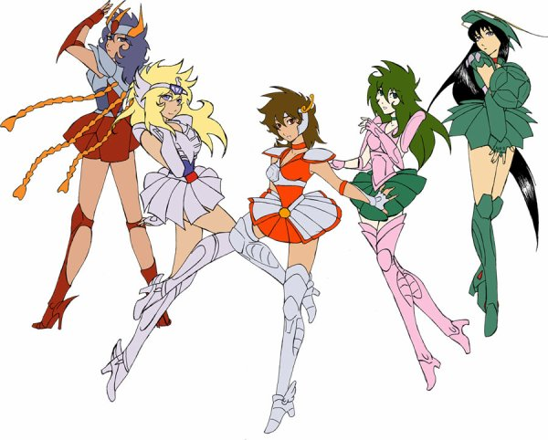 Les Bronzes version Sailor Moon: Seiya, Shiryu, Hyoga, Shun et Ikki