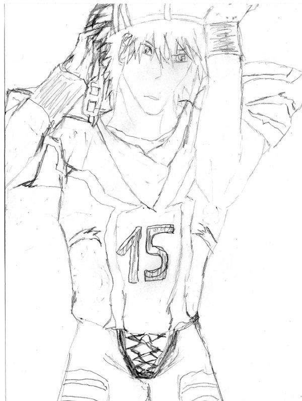 Je viens de finir de dessiner ichigo en footballeur Americain pour ma fanfic que j'écrirais une fois le secret d'ichigo et le plan fini