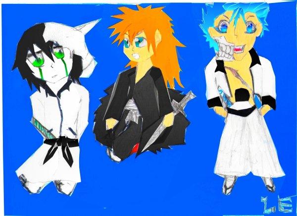 Chibi Ulquiorra, Ichigo, Grimmjow ( dessiné par moi )