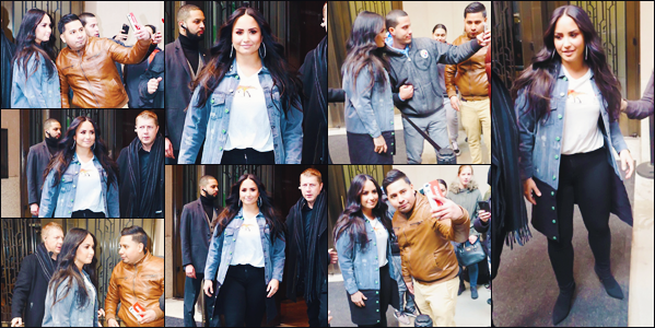23/03/18 : Notre Demetria Devonne Lovato a été photographié alors qu'elle sortait de son  hôtel   à New York City - N Y C. Encore et toujours à NYC ! Notre chanteuse préférée a pris le temps de poser avec des fans qui attendaient devant son hôtel.  • Donne-moi aussi ton avis.