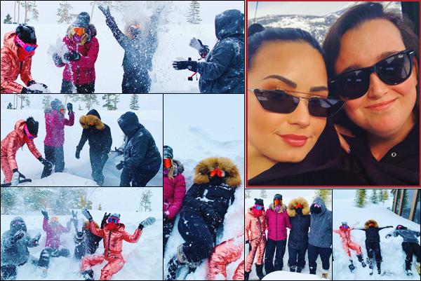 .     Week-end du 2 et 3 février 2019  • Photos personnelles de vacances.     Demi Lovato a partagé, via les réseaux de ses amis, quelques photos de ses vacances au ski. ( Nous n'avons pas de date précise ) .