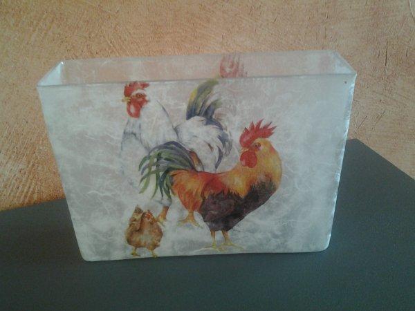 vase rectangulaire coq poule peut servir pot crayon