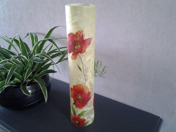 vase jaune motif coquelicots