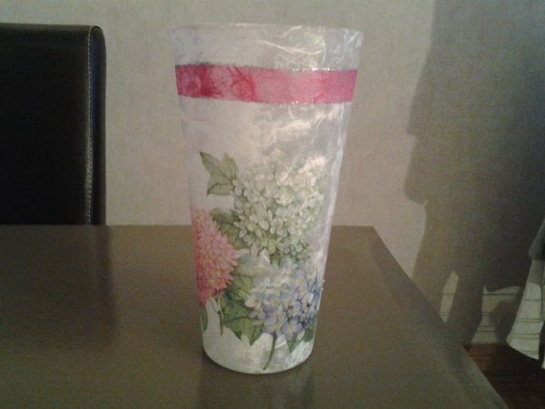vase ht 28cm motif hortensias
