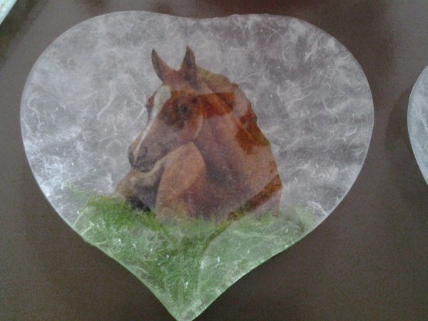 Coupelle forme coeur chevaux